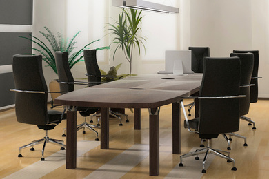 Empty board room conference table
